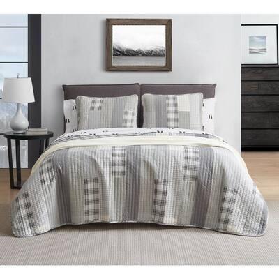 Fairview 2-Piece Gray Plaid Cotton Twin Quilt Set