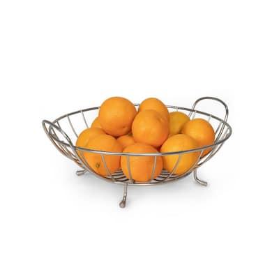 Yumi Countertop Satin Nickel Fruit Bowl Basket Produce Holder Organizer Decorative Display Stand