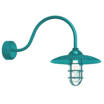 Retro Industrial 23 in. Arm 1-Light Tahitian Teal Clear Glass Lens Outdoor Wall Mount Sconce
