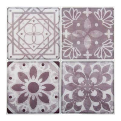 6-Pieces 10 in. x 10 in. Taupe Truu Design Self-Adhesive Peel and Stick Unique Accent Wall Tiles