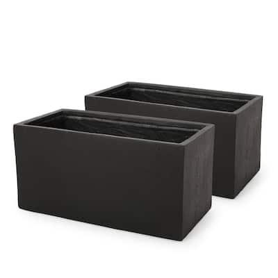 Bailor Large Black Lightweight Concrete Outdoor Rectangular Floor Planter (2-Pack)