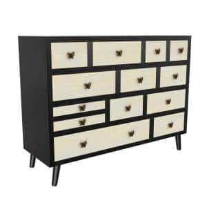 Papillon Ebony/Ivory Sideboard with 13 Drawers