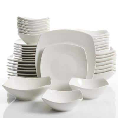 Brentwood 40-Piece Modern White Ceramic Dinnerware Set (Service for 8)