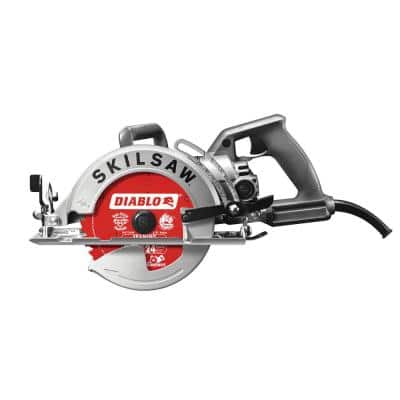 15 Amp Corded Electric 7-1/4 in. Aluminum Worm Drive Circular Saw with 24-Tooth Carbide Tipped Diablo Blade