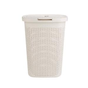 60 l Ivory Plastic Laundry Basket Hamper with Cutout Handles