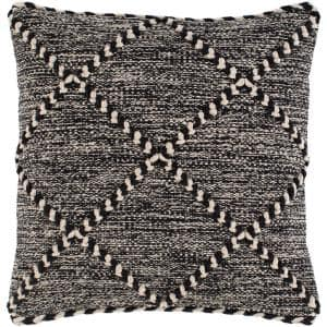 Nevaeh Black Woven Polyester Fill 22 in. x 22 in. Decorative Pillow