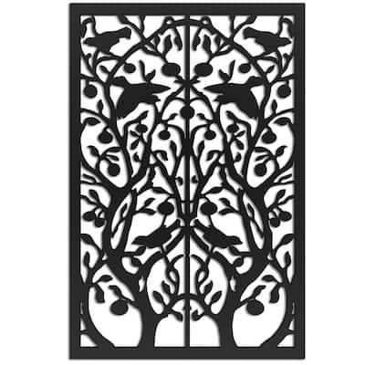 Tree of Life 4 ft. x 32 in. Black Vinyl Decorative Screen Panel