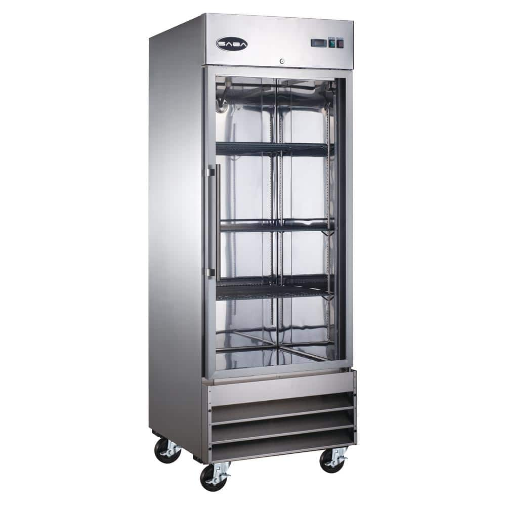 Saba 29 In W 23 Cu Ft One Glass Door Display Commercial Reach In Upright Refrigerator In Stainless Steel S 23rg The Home Depot