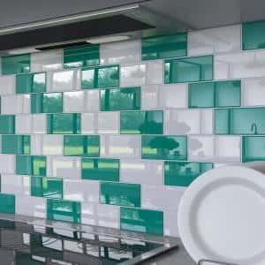 Emerald Green 3 in. x 6 in. x 8 mm Glass Subway Wall Tile (5 sq. ft./case)