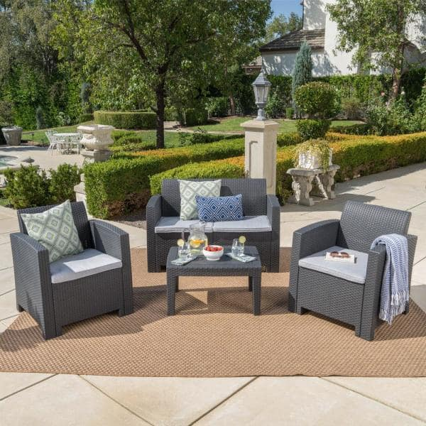 Noble House Charcoal 4 Piece Wicker, Gray Wicker Patio Furniture