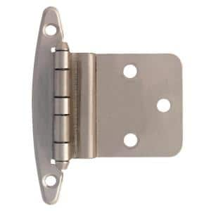 Satin Nickel 3/8 in. Inset Cabinet Hinge without Spring (5-Pairs)