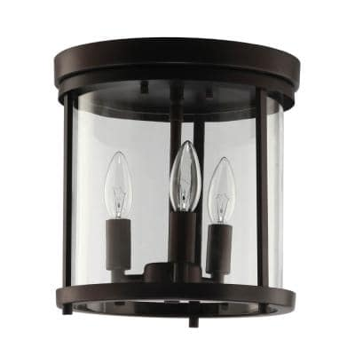 Willoughby 3-Light Vintage Bronze Flush Mount with Clear Glass
