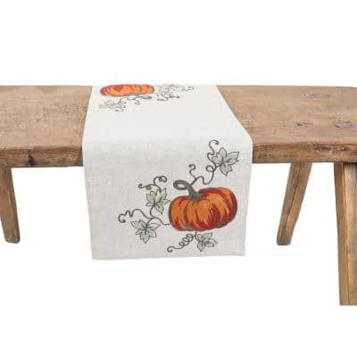 15 in. x 70 in. Rustic Pumpkin Crewel Embroidered Fall Table Runner, Natural