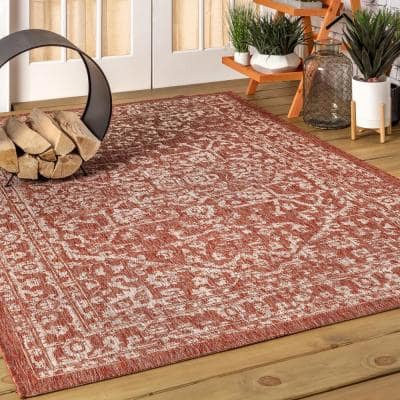Malta Bohemian Medallion Red/Taupe 5 ft. 3 in. x 7 ft. 7 in. Textured Weave Indoor/Outdoor Area Rug