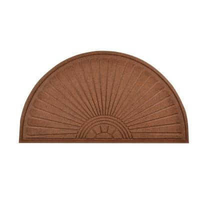 Guzzler Sunburst Brown 36 in. x 70 in. Rubber-Backed Entrance Mat