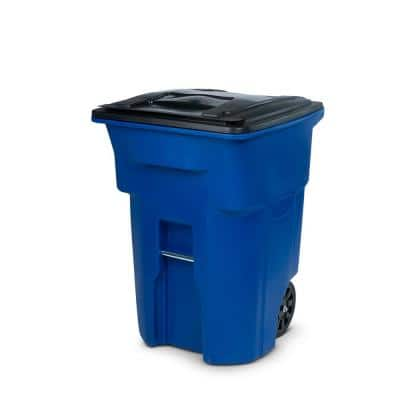 96 Gal. Blue Outdoor Commercial Trash Can with Quiet Wheels and Lid