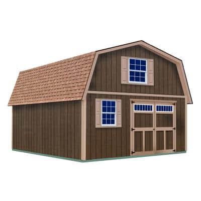Virginia 16 ft. x 24 ft. x 16-1/4 ft. 2 Story Wood Shed Kit without Floor