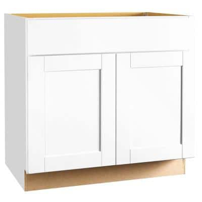Shaker Satin White Stock Assembled Base Kitchen Cabinet with Ball-Bearing Drawer Glides (36 in. x 34.5 in. x 24 in.)