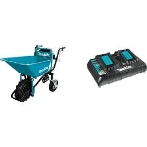 18-Volt X2 LXT Brushless Power-Assisted Wheelbarrow (Tool Only) with bonus 18-Volt LXT Dual Port Rapid Optimum Charger