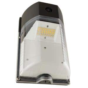 70-Watt Equivalent Integrated LED Bronze Mini Outdoor Wall Pack Light with Photo Control Dusk to Dawn Sensor, 3000K Warm