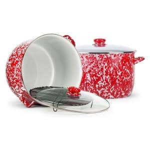 Red Swirl 18 qt. Enamelware Stock Pot with Glass Lid