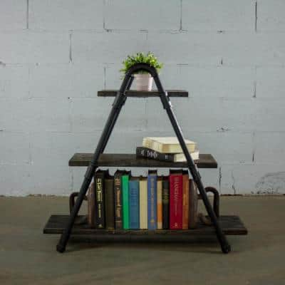 32 in. Hammered Black/Aged Black Metal 3-shelf Etagere Bookcase with Open Back