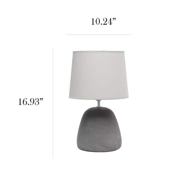 Simple Designs 16 5 In Gray Round Concrete Table Lamp With Gray Shade Lt2058 Gry The Home Depot