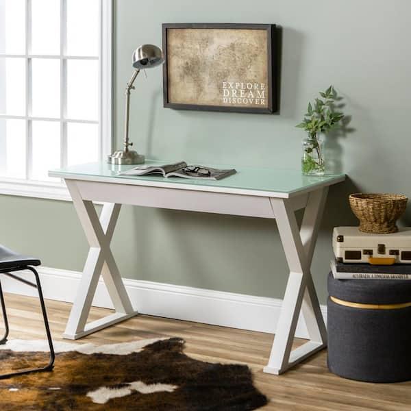 Walker Edison Furniture Company 48 In, White Glass Computer Desk