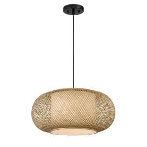 Luca 1-Light Natural Cane with Black Accents a Hanging Pendant