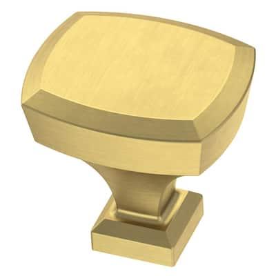 Beveled 1-1/4 in. (32mm) Brushed Brass Cabinet Knob