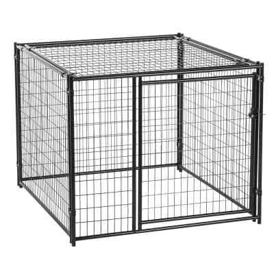 4 ft. H x 5 ft. W x 5 ft. L Black Modular Kennel with Predator Top