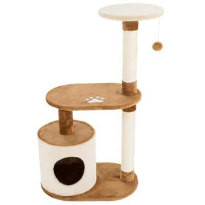 Brown and White 3-Tier Cat Tree Condo with Scratching Posts