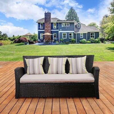 Atlantic Bradley Black Synthetic Patio Wicker Sofa with Light Grey Cushions