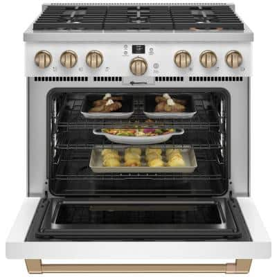 36 in. 5.75 cu. ft. Smart Dual Fuel Range with Self-Cleaning Convection Oven in Matte White