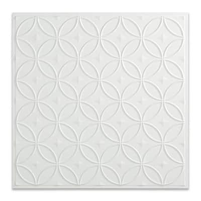 Rings 2 ft. x 2 ft. Matte White Lay-In Vinyl Ceiling Tile (20 sq. ft.)