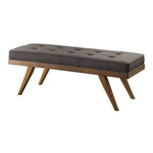 Dark Gray Wood Bench with a Tufted Seat 51 in. L x 15.75 in. W x 17.5 in. H