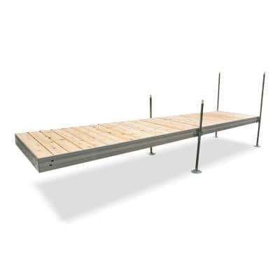 16 ft. Long Straight Aluminum Frame with Cedar Decking Complete Dock Package