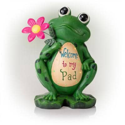 18 in. Tall Outdoor Frog with Color Changing LED Lights and Welcome Sign Yard Statue