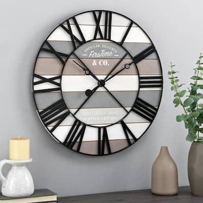 24 in White Maritime Farmhouse Planks Clock