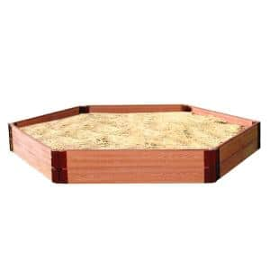 One Inch Series 7 ft. x 8 ft. x 11 in. Classic Sienna Composite Hexagon Sandbox Kit
