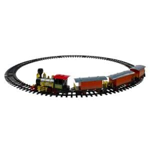 Battery Operated Red and Orange Animated Classic Christmas Train Set with Sound 20-Piece