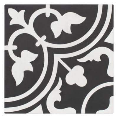 Cemento Arte Coal Encaustic 8 in. x 8 in. Cement Handmade Floor and Wall Tile (5.51 sq. ft. / Case)