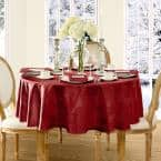 70 in. Round Red Barcelona Damask Fabric Tablecloth