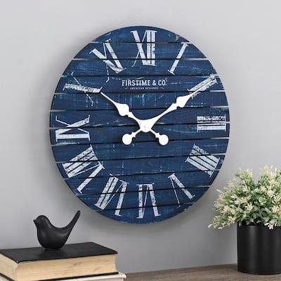 18 in  Navy Augustus Farmhouse Shiplap Clock