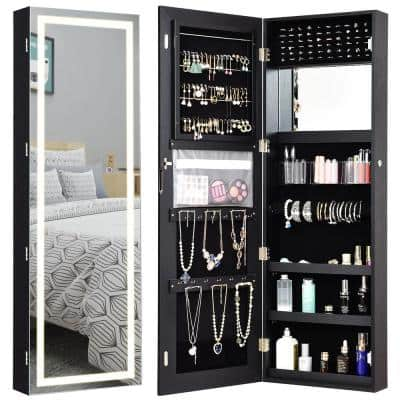 Door Wall Mount Touch Screen LED Light Mirrored Jewelry Box Cabinet Storage Lockable