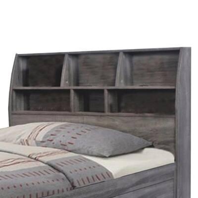 Contemporary Style Gray Twin Size Bookcase Headboard