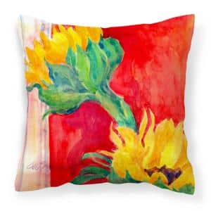 14 in. x 14 in. Multi-Color Lumbar Outdoor Throw Pillow Flower Sunflower Decorative Canvas Fabric Pillow
