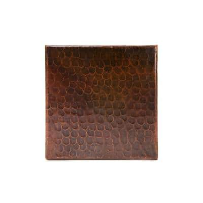 6 in. x 6 in. Hammered Copper Decorative Wall Tile in Oil Rubbed Bronze (8-Pack)