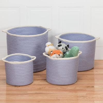 Sonoma 16 in. x 16 in. x 14 in. Purple Round Polypropylene Braided Basket