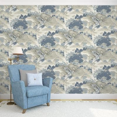 Ordos Blue Eastern Toile Peelable Roll (Covers 56.4 sq. ft.)